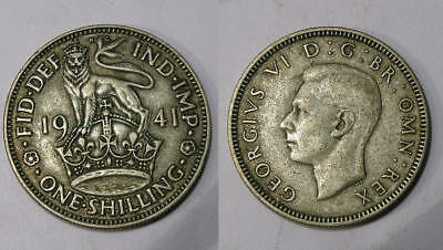 1941 Silver Gb Shilling 50% Pure 5.6 Grams Inv#299-45