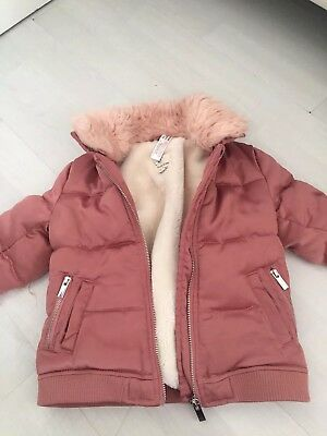 Stunning Little Girls Pink Bomber River Island Coat Jacket Age 12-18mths