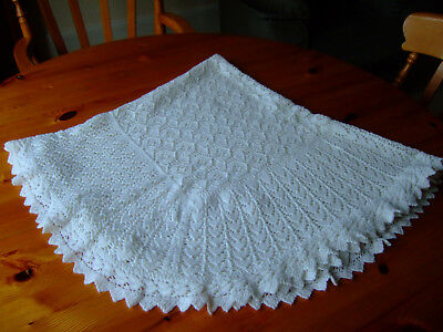 """Baby's Hand Knitted White Lacy Shawl.approx 44""""square.Exc.Cond."""