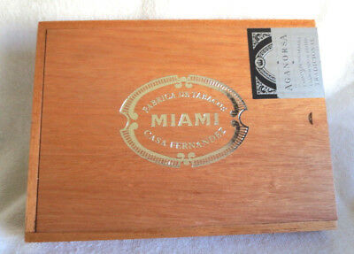 Aganorsa Casa Fernandez Miami Maduro Arsenio Wood Cigar Box - Beautiful!