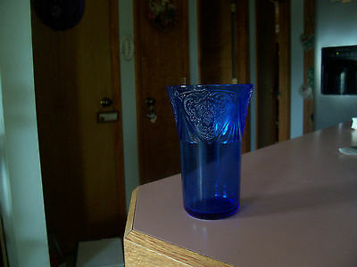 "Royal Lace 10 oz cobalt blue 4 7/8"" tumbler-somewhat scarce"