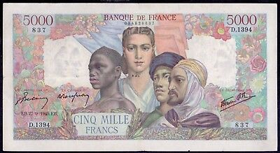 5000 Francs From France 1945