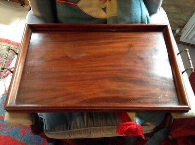 Large Antique Late Victorian Brass Handled Walnut Treen Butlers Tea Serving Tray