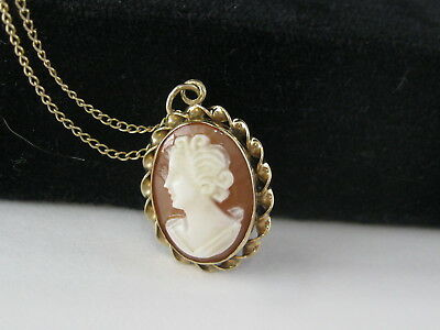 Vintage Victorian Shell Cameo Necklace 1/20th 12K Gold Filled 18in GF Chain