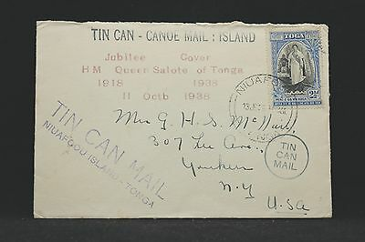 Tonga: 1939 Attractive Tin Can Mail Cover to Yonkers, NY