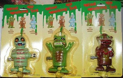 "WALKING MONSTER 2-ACTIONS WINDUP SET of 3 WKW 4.5"" TOYS 1980'sANTIQUE MINTonCARD"