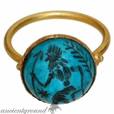 Very Rare , Intact Hellenistic Period Pakistan Gandhara Gold Seal Ring 330-129 B