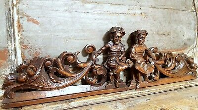 Carved Wood Pediment Matched Pair Antique French Gothic Jester Carving Crest 1