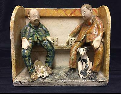 Outsider Folk Art, Art Pottery Pub Scene - Men With Dogs - Will Young Interest