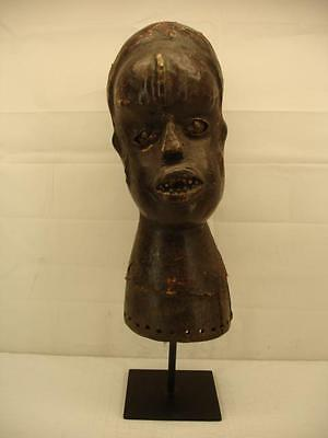 African Carved Wood Skin Covered Cap Mask Ejagham Cameroon 19th Century Antique
