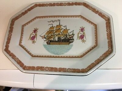 Chinese Dynasty Porcelain Rectangle Plate Dish With Ship Boat