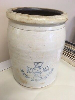Antique 2 Gallon E. P.  & Co. Stoneware Crock New Brighton Pennsylvania