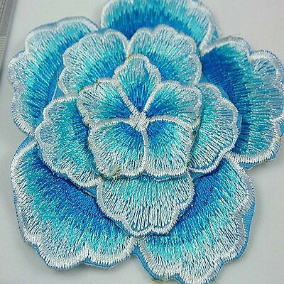 """FREE SHIP 2-Tone Blue Flower Satiny Embroidered Applique 3"""" Iron-On 3 layers"""