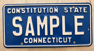 """Connecticut Sample License Plate Embossed """" Sample """"  Ct Constitution State"""