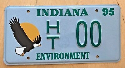 """1995 Indiana Sample License Plate Embossed """" Ht 00 """" In Environment Bald Eagle"""