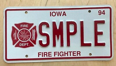 """Iowa Fire Fighter Sample License Plate Embossed """" Smple"""" Ia  Fireman Firefighter"""