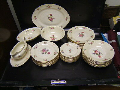 """Homer Laughlin Household Institute """"Priscilla"""" Lot of 48 Pieces w/ Serving Pcs"""