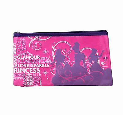 Disney Princess pencil case large pink & purple zipper top stationary craft bag