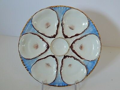 Antique German C T Carl Tielsch Oyster Plate Majolica Blue Brown Gold
