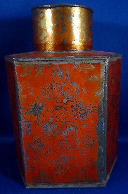Antique Tin Tea Caddy - Floral & Butterfly Design - Gold on Red