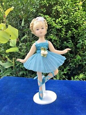 """Vintage Ballerina Porcelain Doll Jointed Recital Braids Blue Tutu With Stand 8"""""""