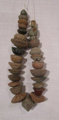 ANTIQUE PRE-CLASSIC Pre-Columbian POTTERY malacates Spindle Whorl PLUS NECKLACE