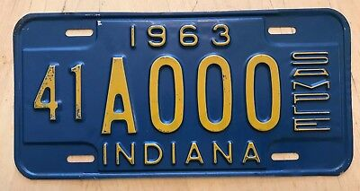 """1963 Indiana Sample Auto Passenger License Plate """" 41 A 000 """" In 63"""
