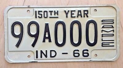 """1966 Indiana Sample Auto Passenger License Plate """" 99 A 000 """" In 66  150Th Year"""