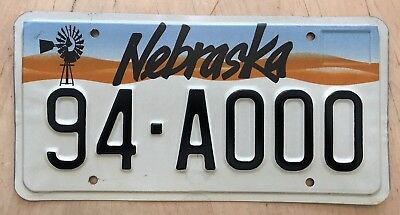 "Nebraska Sample Auto Passenger Graphic License Plate "" 94 A000 "" Ne Windmill"