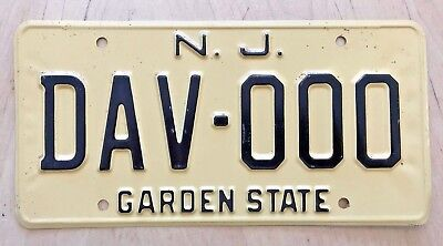"New Jersey Sample Auto  License Plate "" Dav 000 "" Nj Disabled American Veteran"