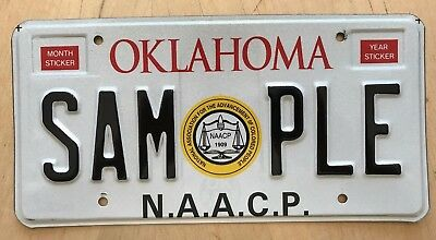 """Oklahoma Sample  License Plate """" Sam Ple """" Naacp Martin Luther King Civil Rights"""