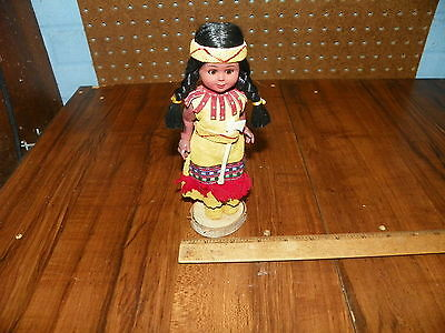 Vintage Native American Indian Doll w Leather Dress                            ^