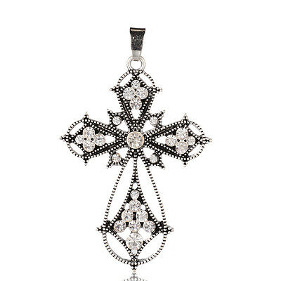 2PCS Alloy Latin Cross Clenched Large Gothic Big Pendants Antique Silver