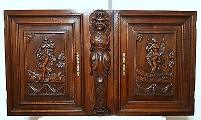 Cabinet Panel Door Matched Pair Antique French Carved Wood Lady Gothic Figure
