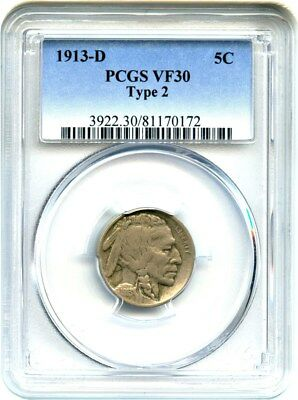 1913-D 5c PCGS VF30 (Type 2) Buffalo Nickel
