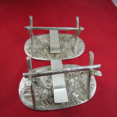Low Content Silver Knife Rests Ornate Branches Leaves Heavy 180grams