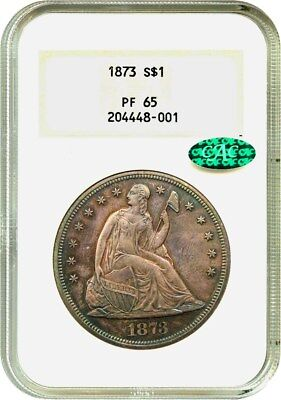 1873 $1 NGC/CAC PR 65 (OH) Old NGC Holder - Liberty Seated Dollar