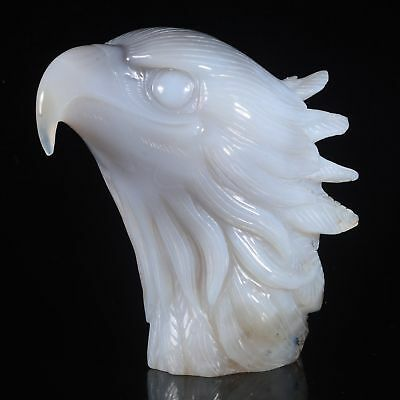 "5.16""Natural Geode Agate Eagle Head Carving ,Collectibles#AU21"