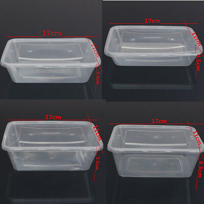 10pcs 500ml~1000ml Plastic Containers With Lids Microwave Food Safe Takeaway Box