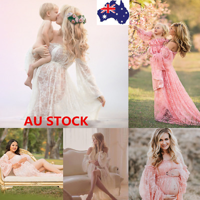 Pregnant Women Off Shoulder Lace Maxi Dress Maternity Photography Photo Props