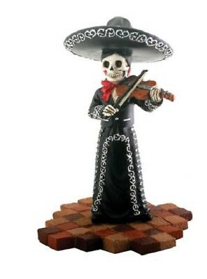 Black Skeleton Mariachi Band Lady Violin Player Day of the Dead Figurine