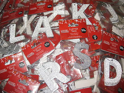 60 Packets Gift Tags Silver Glitter Letters Labels Christmas Tag Craft Letter