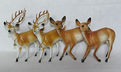 "4 Vintage Christmas Deer Buck Doe Figures Hong Kong 6"" tall"