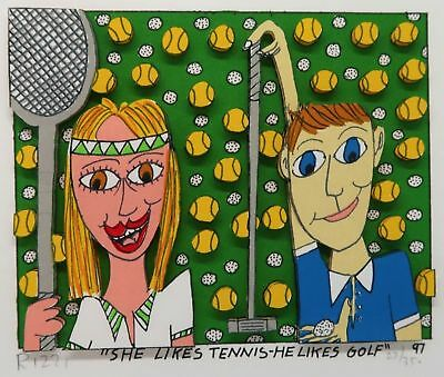 James Rizzi » She Likes Tennis - He Likes Golf «  Seltenes 3D  aus 1997