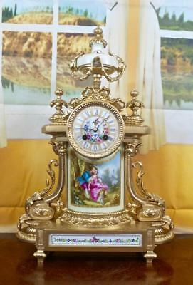 Antique 19th c French mantel clock with beautiful Sevres porcelain by A.D.Mougin