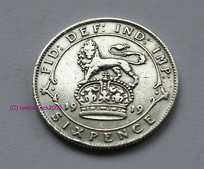 1919 King George V Silver Sixpence British English 92.5% (Sterling) silver
