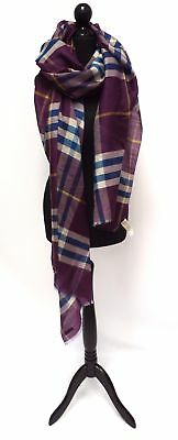 BURBERRY Purple Blue Checked Wool Silk Blend Scarf 250 x 70cm - 33 S28