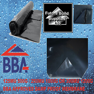 Black Damp Proof Membrane, 4M Wide. VARIOUS LENGTHS 125/250/300mu DPM Polythene