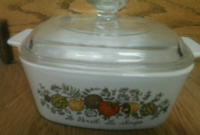 Vintage Corning Ware 1 1/2 qt Spice Of Life A-1 1/2-B  Baking Casserole With Lid