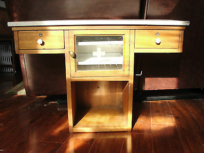 Dental,physican wood cabinet, solid white marble top, glass sterilizer, old,wall